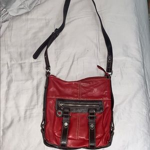 Vintage Red Faux Leather Crossbody